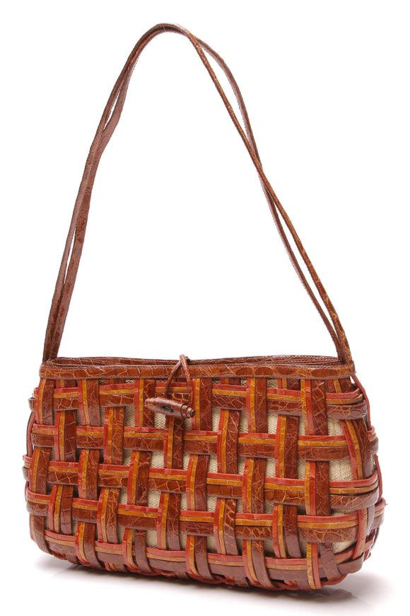 Nancy Gonzalez Woven Crocodile Bag Brown