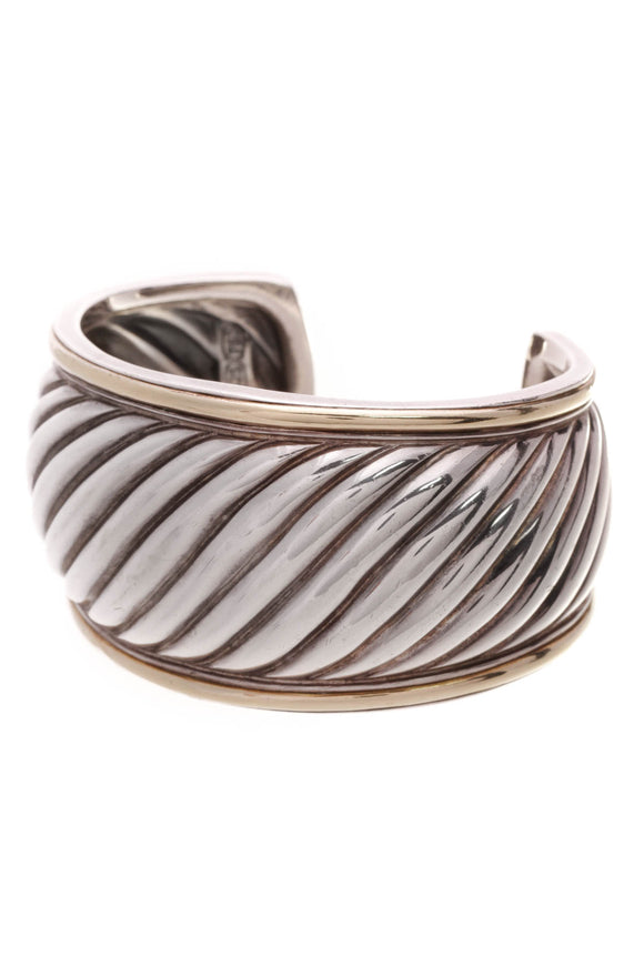 David Yurman Sculpted Cable Cuff Bracelet Silver Gold