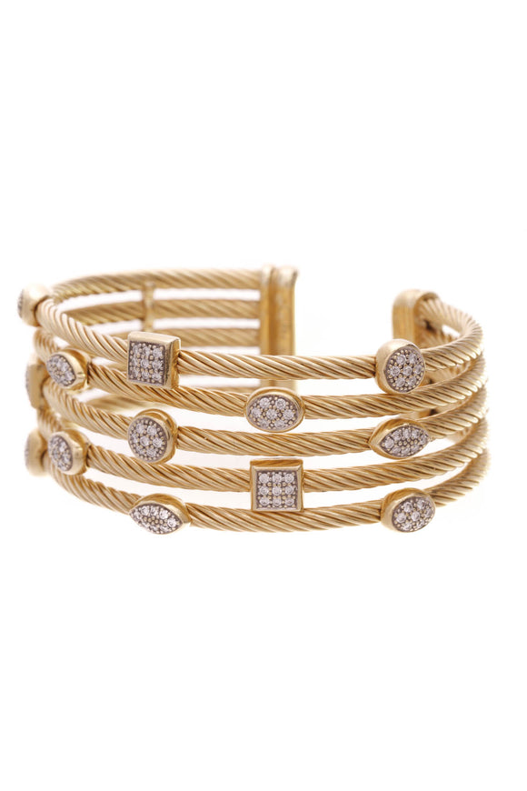 David Yurman Diamond Confetti Cuff Bracelet Yellow Gold