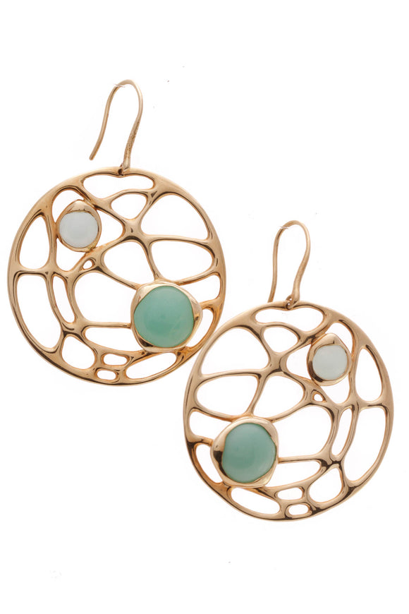 Ippolita Chalcedony Chrysoprase Cut Out Disc Drop Earrings Gold