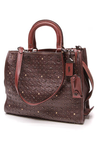 Coach Rogue 39 Prairie Rivets Tote Bag Oxblood Red