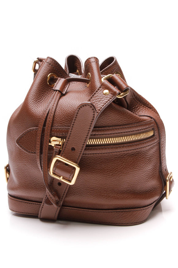 Prada Vitello Daino Drawstring Bucket Bag Brown
