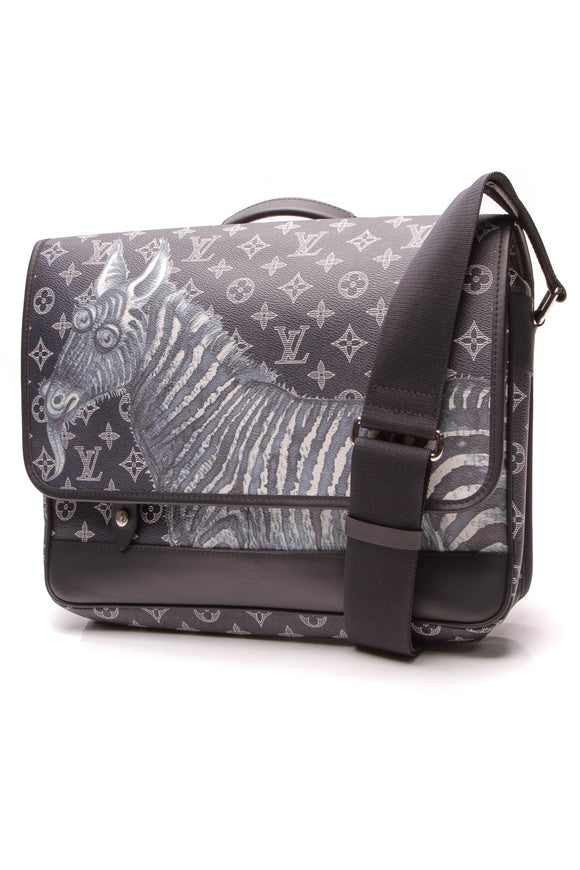 Louis Vuitton Chapman Zebra Messenger Bag Encre Savane Monogram Blue