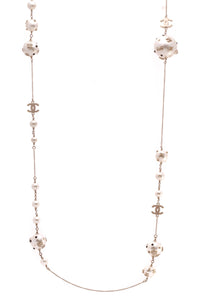 Chanel Embellished Pearl Chain Necklace Gold