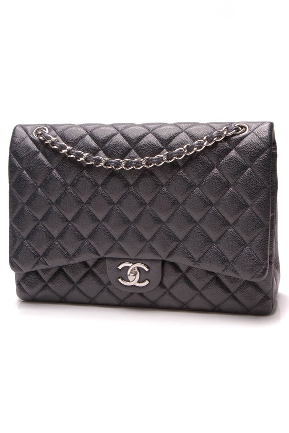 Chanel Classic Double Flap Bag Maxi Navy Caviar