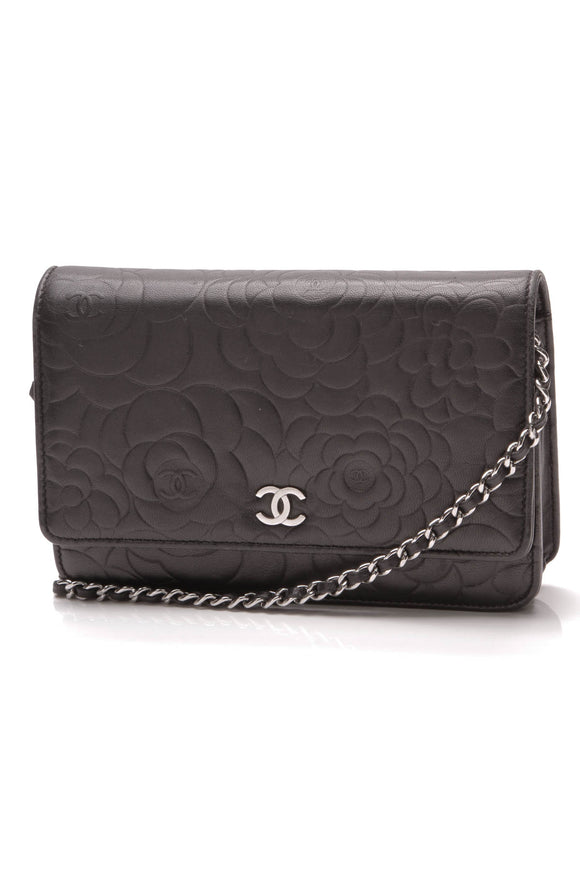 Chanel Embossed Camellia WOC Bag Black