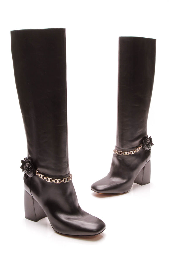 Tory Burch Blossom Boots Black Size 10.5