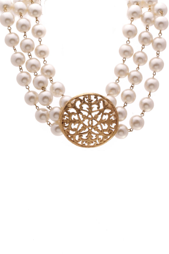 Chanel Vintage Triple Strand Pearl Medallion Necklace Gold