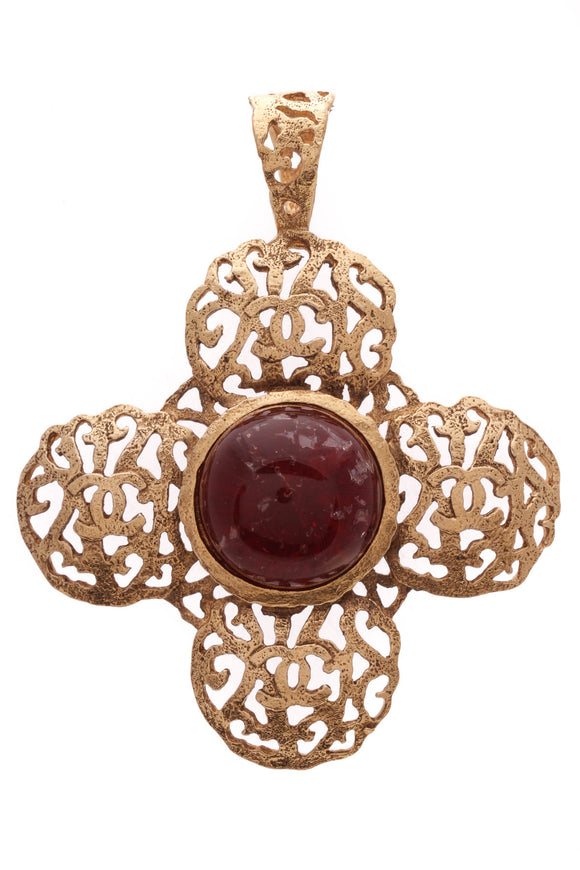 Chanel Vintage Filigree Cross Pendant Gold