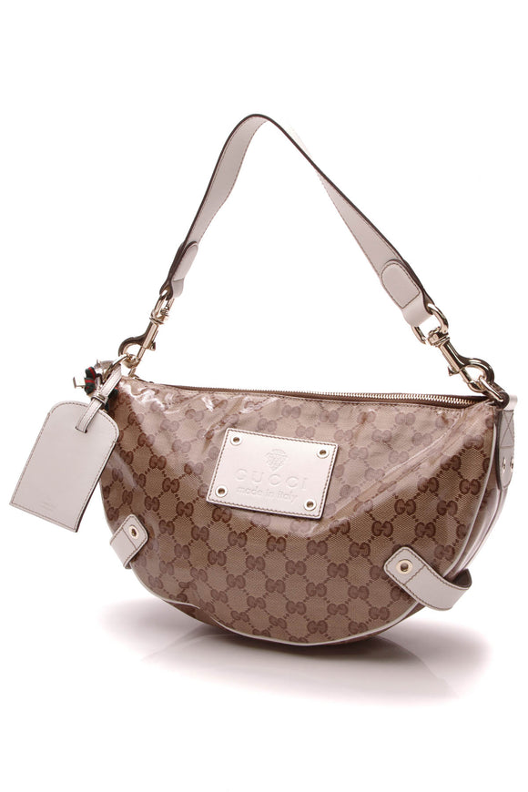 Gucci Voyager Shoulder Bag Crystal Canvas Beige White