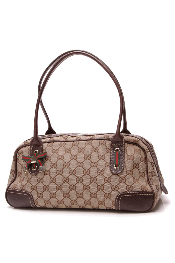 Gucci Princy Boston Bag Signature Canvas Beige