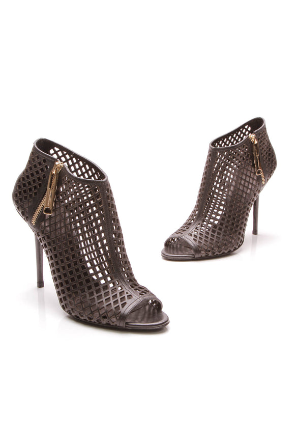 Burberry Laser-Cut Booties Black Size 39