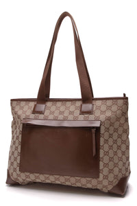 Gucci Zipper Tote Bag Signature Canvas Brown