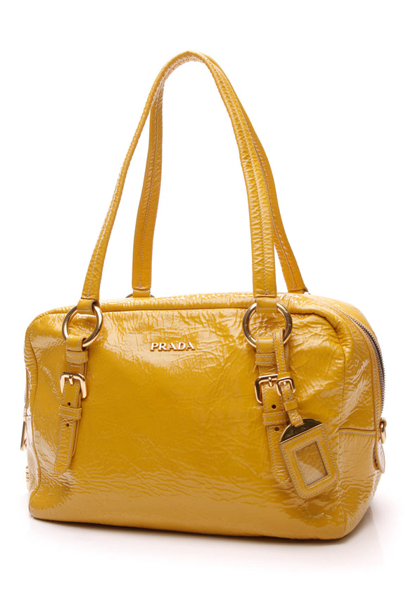 Prada Bauletto Shoulder Bag Giallo Naplak Yellow