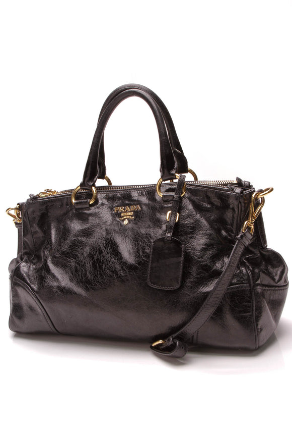 Prada Vitello Shine East West Satchel Bag Nero Black