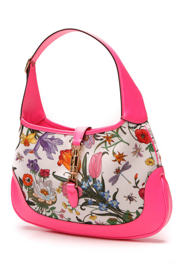 Gucci Jackie Flora Medium Hobo Bag Fuchsia