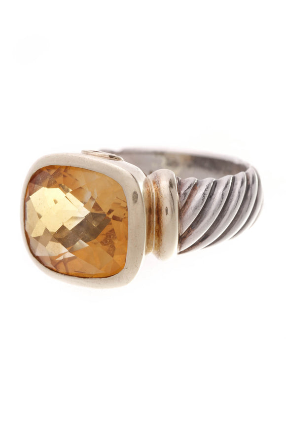 David Yurman Citrine Noblesse Ring Silver Gold Size 7.5