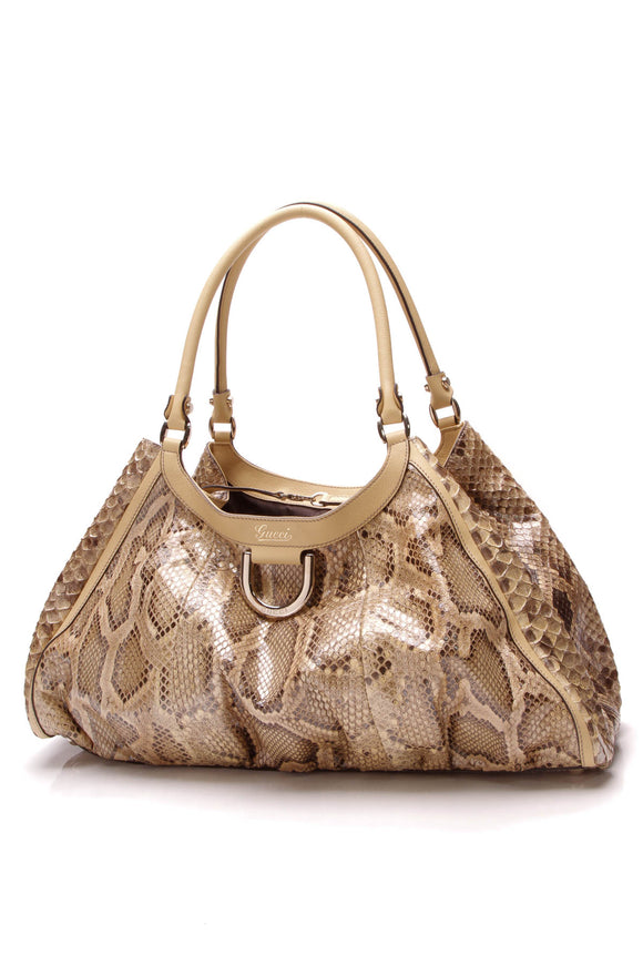 Gucci Python D-Ring Large Hobo Bag Beige