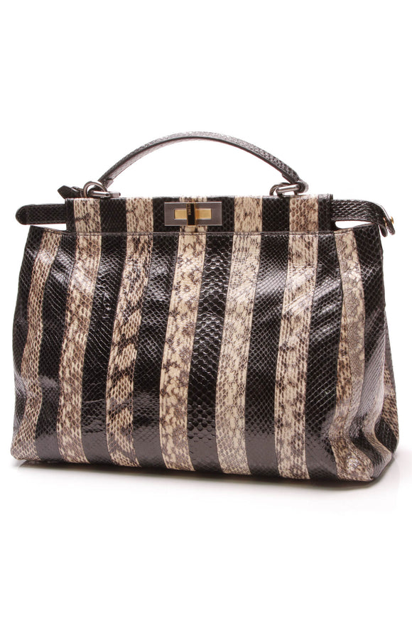Fendi Striped Snakeskin Peekaboo Tote Bag Black Beige