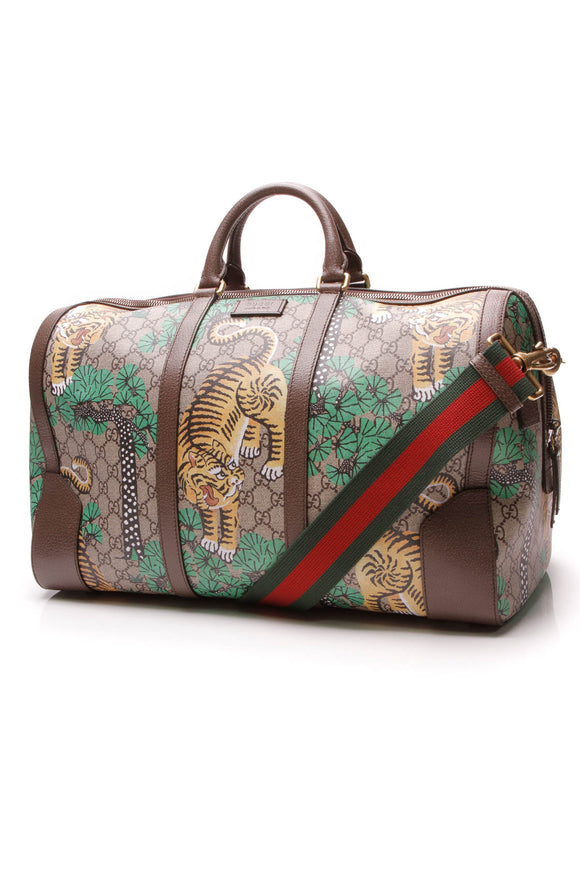 Gucci Bengal Medium Duffle Bag Supreme Canvas Beige