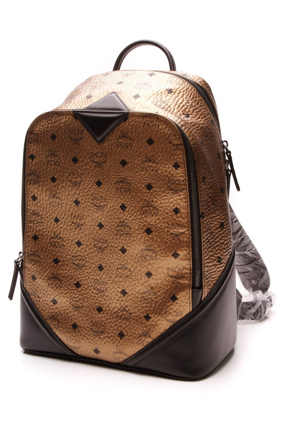 MCM Scooter Backpack Gold Visetos Coated Canvas