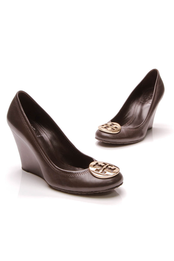 Tory Burch Sally Wedge Pumps Dark Brown Size 6.5