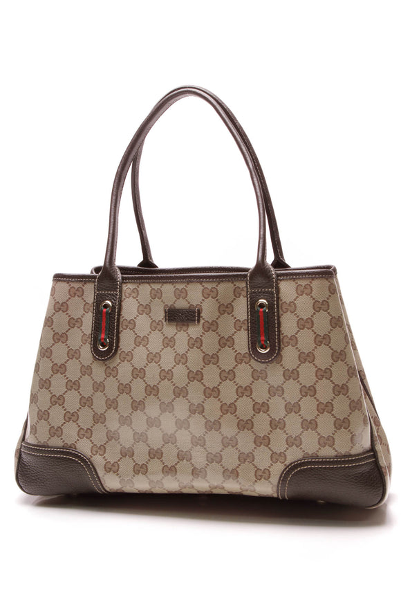 Gucci Princy Tote Bag Crystal Canvas Beige Brown