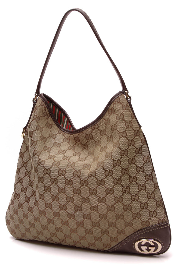 Gucci New Britt Hobo Bag Signature Canvas Beige Brown