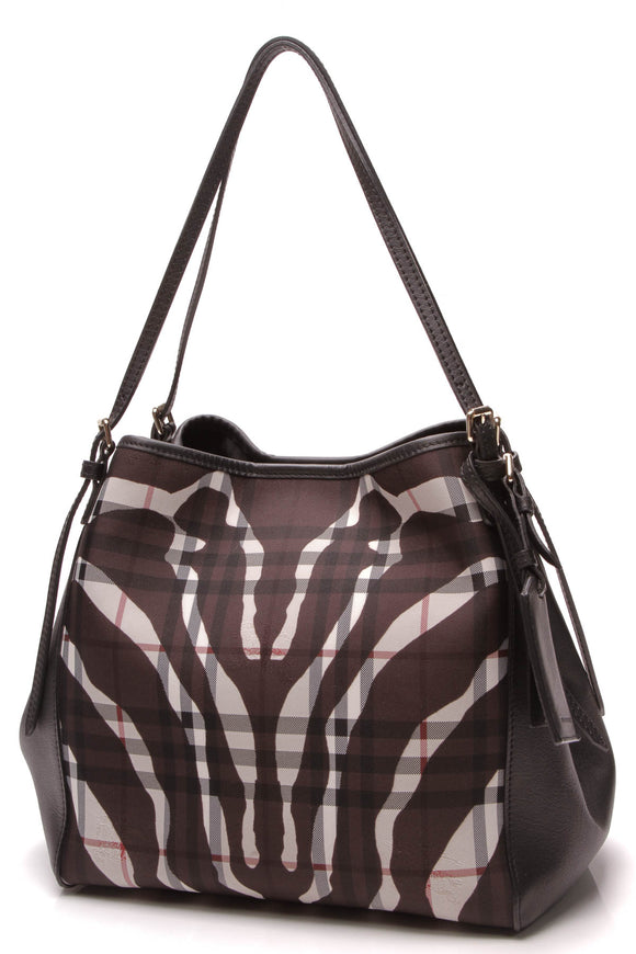 Burberry Zebra Canterbury Tote Bag Haymarket Check Black