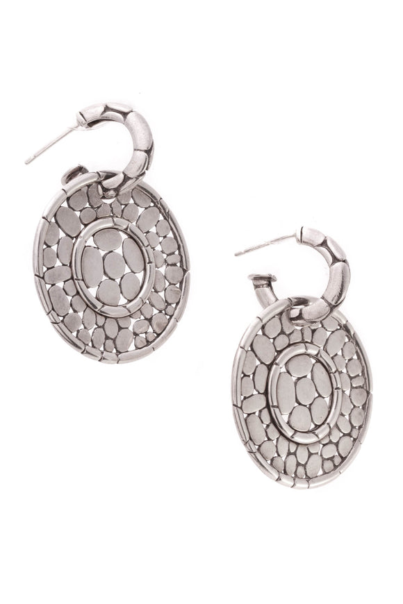 John Hardy Kali Round Drop Earrings Silver