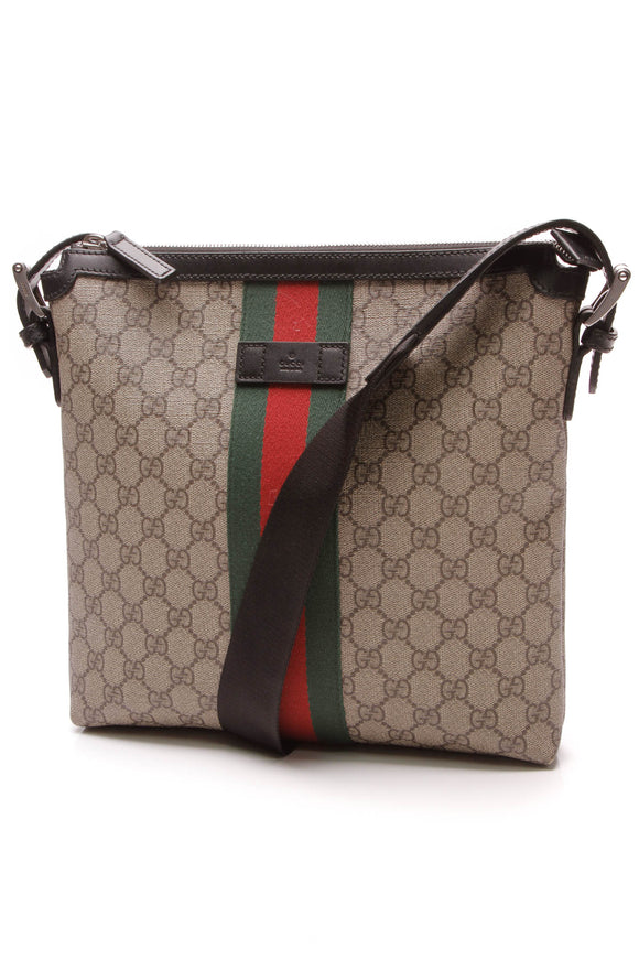 Gucci Web Crossbody Messenger Bag Supreme Canvas Beige