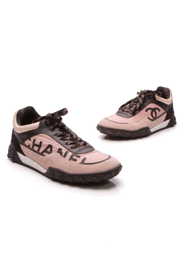 Chanel Logo Sneakers Pink Black Size 39