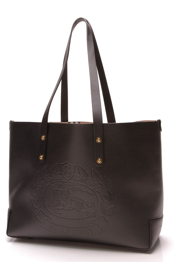 Burberry Embossed Crest Tote Bag Black