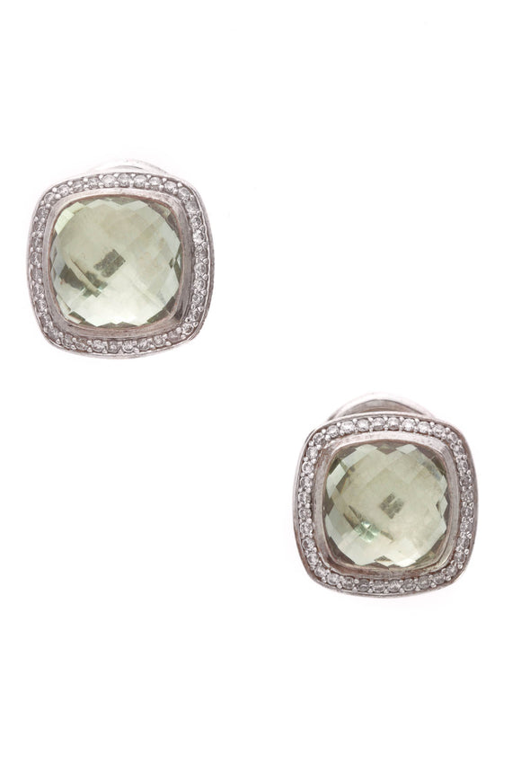 David Yurman Diamond Prasiolite 11mm Albion Earrings Silver