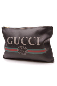 Gucci Print Large Portfolio Clutch Bag Black