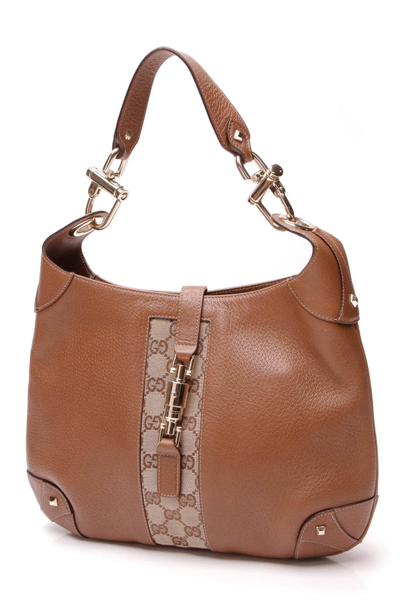 Gucci Nailhead Jackie Hobo Bag Brown Signature Canvas