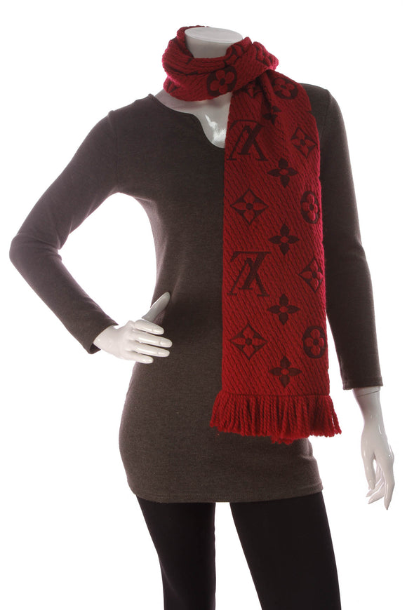Louis Vuitton Logomania Scarf Red