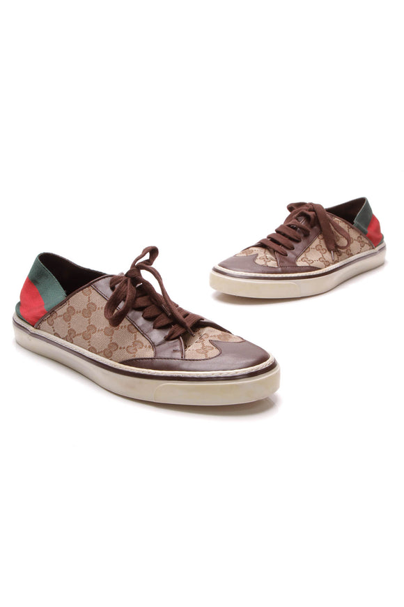 Gucci Web Low-Top Men's Sneakers Signature Canvas US Size 9.5