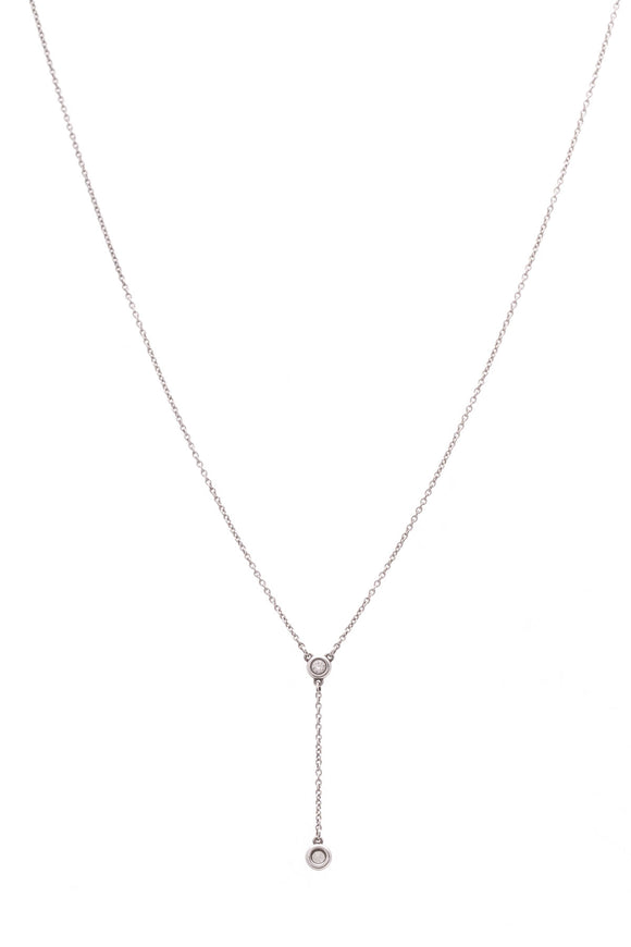Tiffany & Co. Elsa Peretti Diamonds By The Yard Lariat Necklace Silver