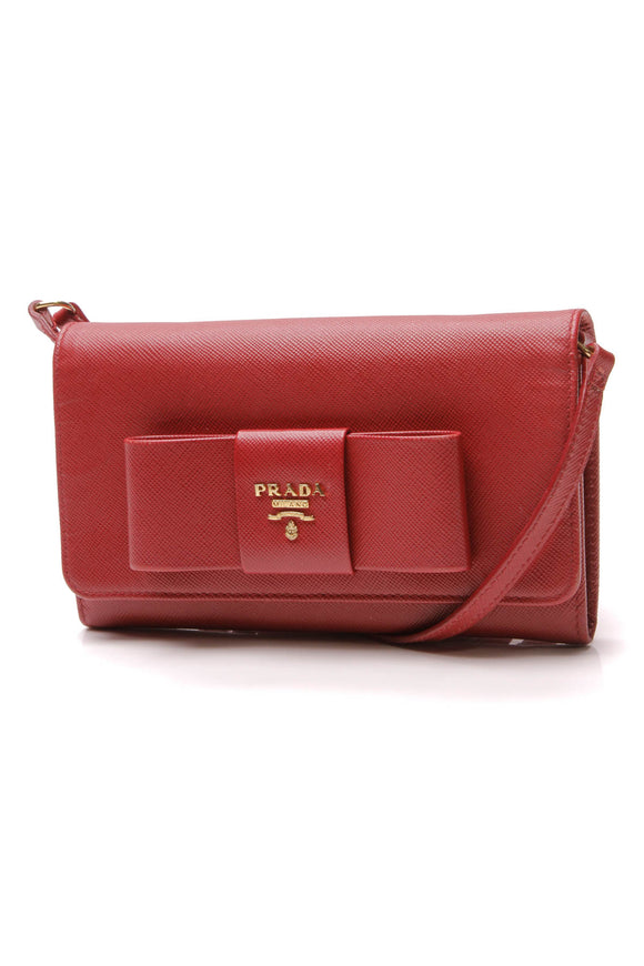 Prada Prada Bow WOC Crossbody Bag Red