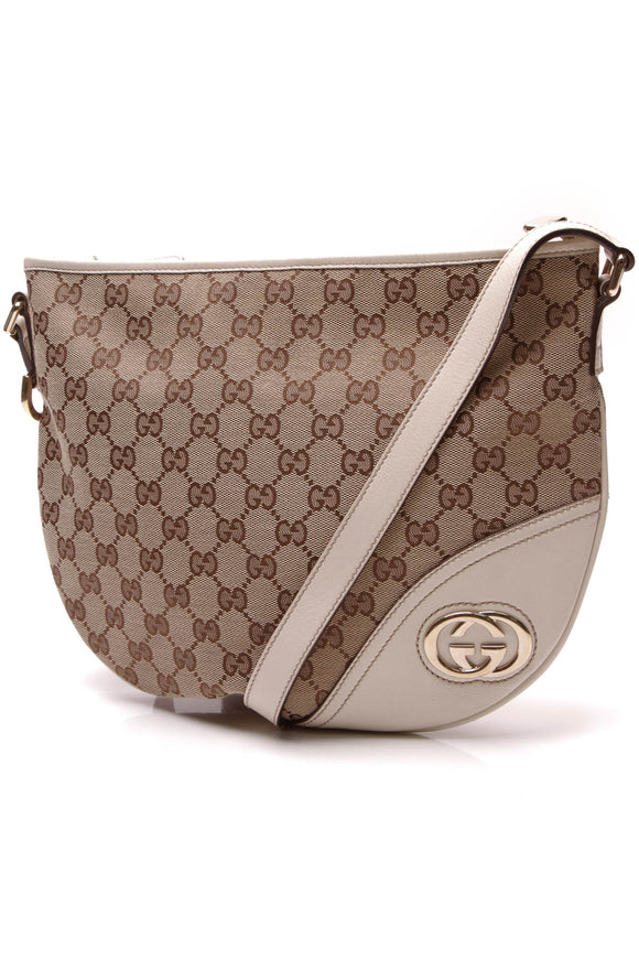 Gucci New Britt Crossbody Bag White Signature Canvas