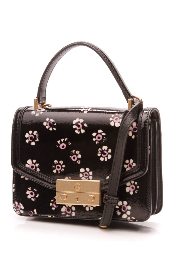 Tory Burch Floral Juliette Satchel Bag Black Patent