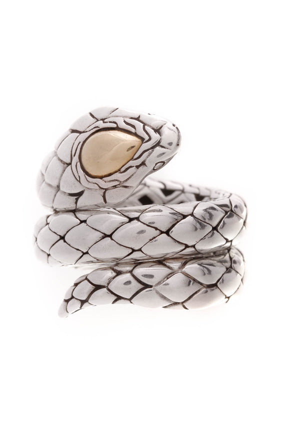John Hardy Legends Cobra Double Coil Ring Silver Size 6.5