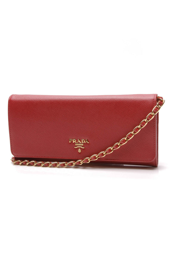 Prada Wallet on a Chain Clutch Bag Red