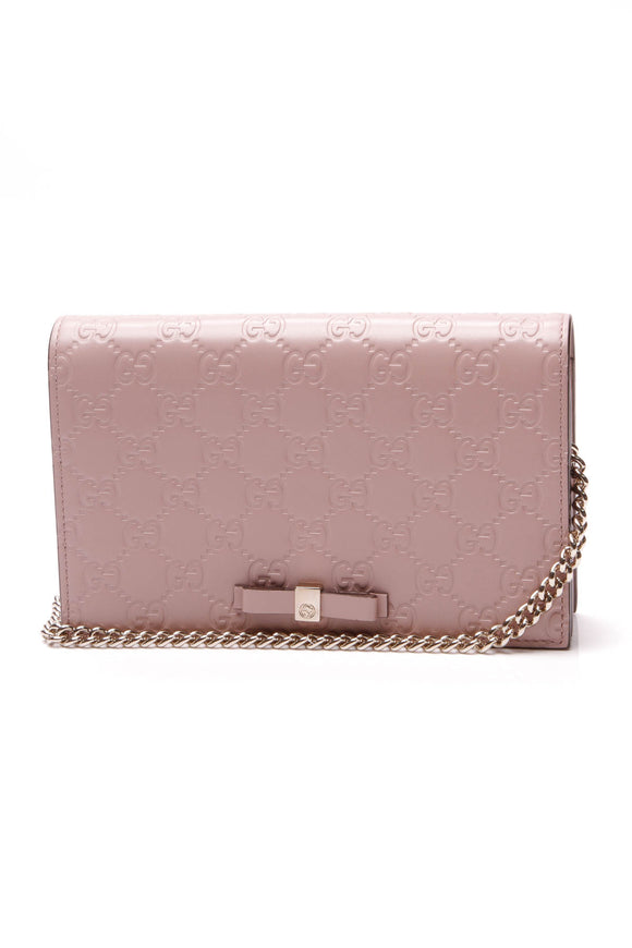Gucci Bow Wallet on a Chain Crossbody Bag Blush Guccissima Pink