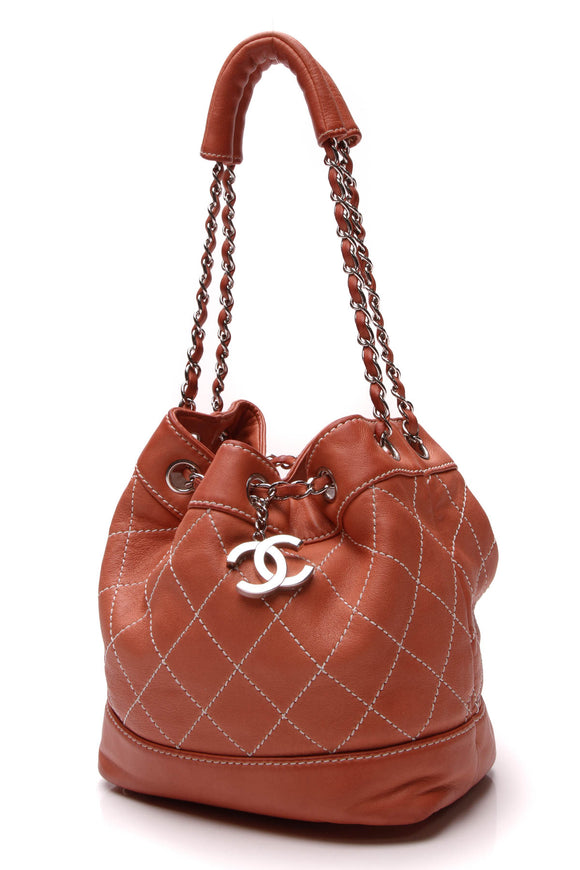 Chanel Surpique Drawstring Bucket Bag Peach