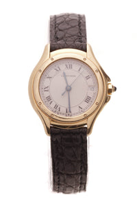 Cartier Panthere Cougar 26mm Ladies Watch Gold Alligator Black