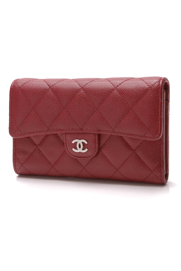 Chanel Classic Flap Wallet Red Caviar