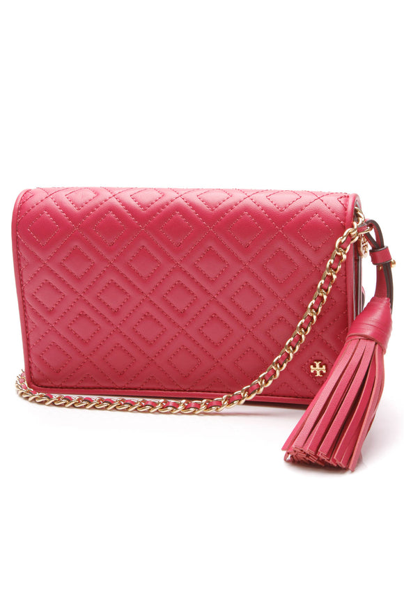 Tory Burch Fleming Wallet on a Chain Crossbody Bag Bright Azalea Pink