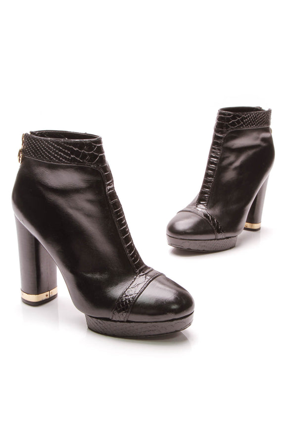Tory Burch Embossed Platform Ankle Boots Black Size 8.5